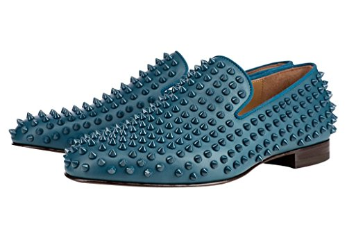 Shoes On 14 Heel Slip FSJ US Punk Casual Fashion Low 7 Men Loafers Cyan Size Rivets RvwcHqvf4