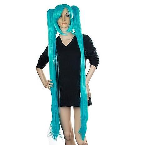 Blue Vocaloid Hatsune Miku Cosplay Wig w/ 2 Clip Ponytails ...