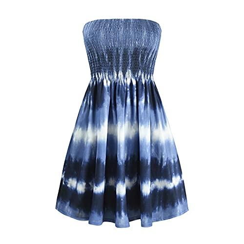 KANSOPA 여성 여름 보헤미안 인쇄 민소매 드레스 오프 어깨 STRAPLESS 긴 맥시 여름 해변 스윙 드레스