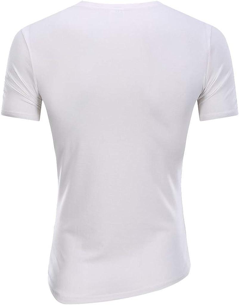 Mens T Shirt Mens Fitness T-Shirt Gym Workout Tee Tops Solid Deep Round Collar Irregular Hems Casual Short Sleeve Shirt