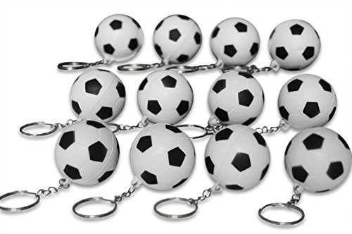 Novel Merk 12 Pack Soccer Ball Keychains for Kids Party Favors & School Carnival Prizes by Novel Merk