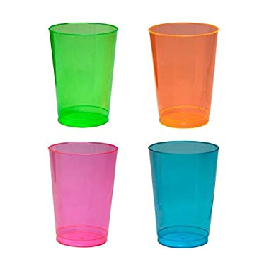 Party Essentials Hard Plastic 10-Ounce Party Cups/Tumblers, 25-Count, Assorted Neon