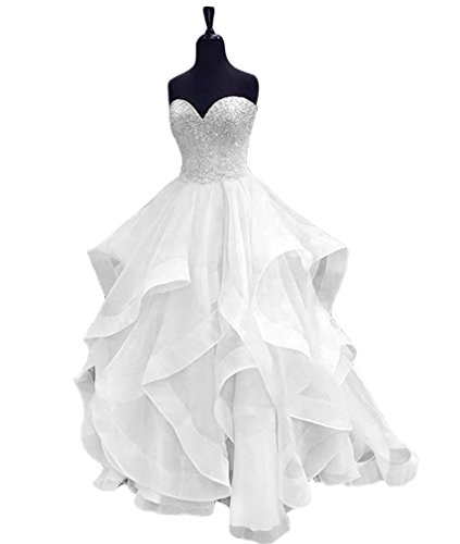 HEIMO Women's Beaded Evening Party Ball Gowns Ruffled Sequined Formal Prom Dresses Long H196 10 White by HEIMO