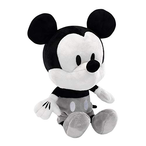 (Lambs & Ivy Disney Baby Mickey Mouse Plush Stuffed Animal Toy, Black/White)