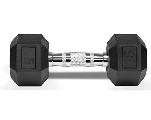 Yes4All 15 lbs Rubber Coated Hex Dumbbells w/ Ego Handle - ²AAAIZ