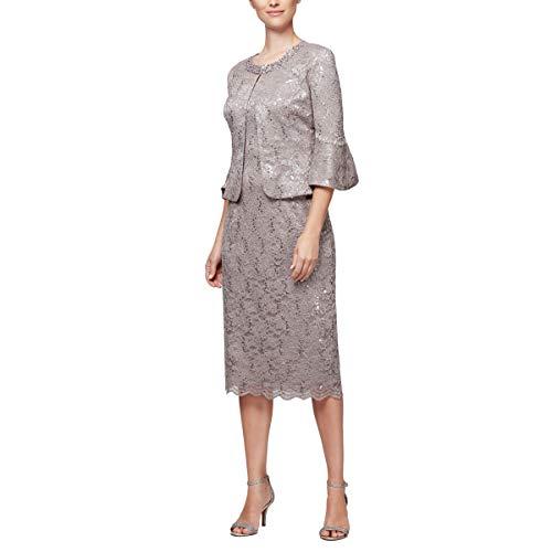 Alex Evenings Women's Tea Length Dress and Jacket (Petite and Regular Sizes), Mink, 18