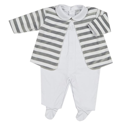 (Kissy Kissy Unisex Baby Mini Pets Footie W/Collar and Velour Jacket Set - Wh/Silver-3-6mos)
