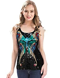 Women's Shimmer Glam Butterfly Sequin Tank Top