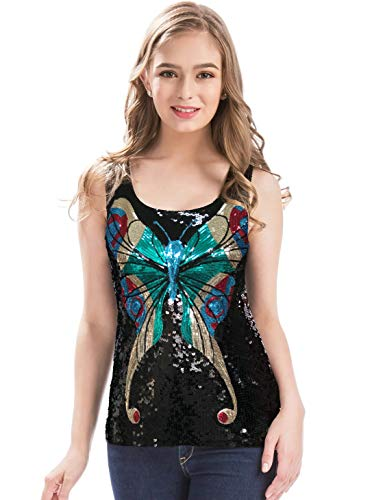 MANER Womens Shimmer Glam Sequin Butterfly Sleeveless Round Neck Tank Top (Black, XL)