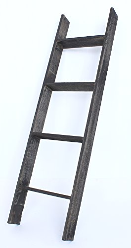 BarnwoodUSA Rustic 4 Foot Bookcase Ladder - 100% Reclaimed Wood, Black