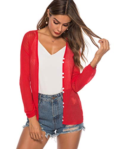 (LYHNMW Womens Tie Front Lightweight Knit Cropped Cardigan Button Down Long Sleeve Sheer Shrug Red)