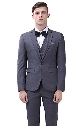 Men's Suit 3 Piece Single Breasted Slim Fit Dress Suit Jackets Vest & Trousers