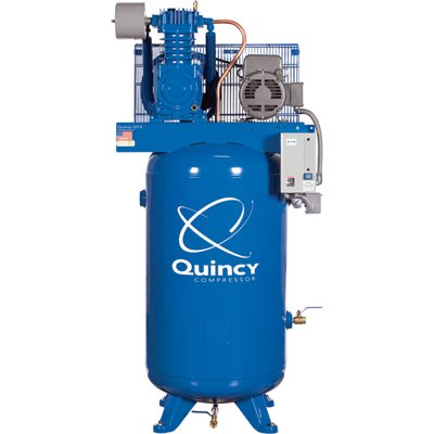- Quincy QT-5 Splash Lubricated Reciprocating Air Compressor - 5 HP, 208 Volt, 3 Phase, 80 Gallon Vertical, Model# 253DS80VCB20