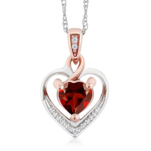 10K White and Rose Gold Red Garnet and Diamond Heart Shape Pendant Necklace