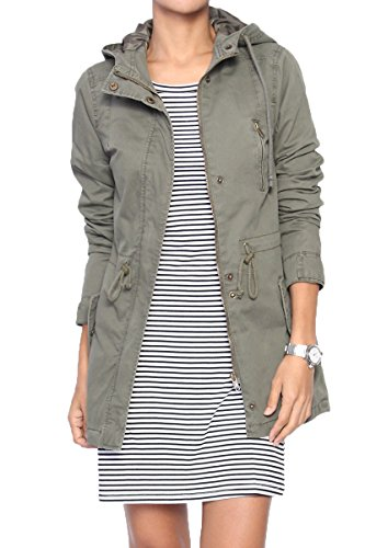 TheMogan Women's Washed Twill Hooded Utility Anorak Jacket, 43 Olive, Juniors' Medium ()