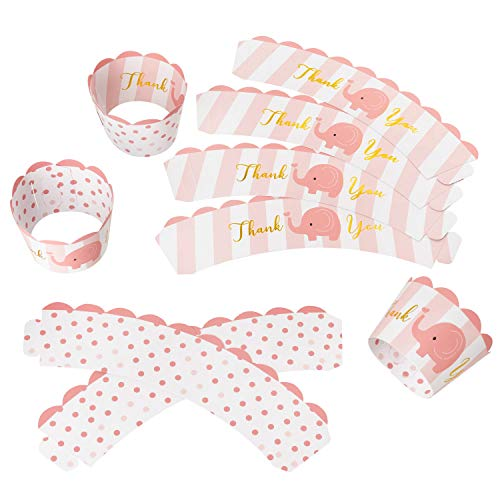 KEY SRPING 36PCS Elephant Cupcake Wrappers, Girl Elephant Baby Shower Cup Cake Liner Holder, Reversible Elephant and Polka Dot Cupcake Sleeves (Pink and Gilding