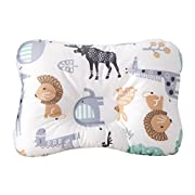 Baby Pillow For Newborn Breathable Organic Cotton Protection for Flat Head Syndrome Animal World