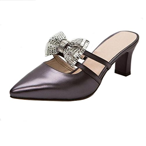 Mules Shoes Women Heels 9 silver Toe TAOFFEN Summer Black Closed qaqYA