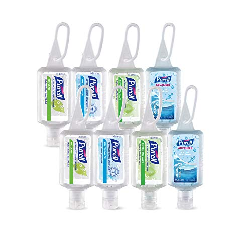 PURELL Advanced Hand Sanitizer Gel, Variety Pack, 8 -1 fl oz Portable, Travel Sized Flip Cap Bottles with included JELLY WRAP Carriers (Case of 8) - ()