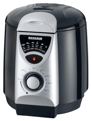 Severin FR 2408 Mini-Fritteuse mit Fondue, schwarz-silber / Behälter 950 ml Inhalt / Frittiermenge 200 g / 840 W