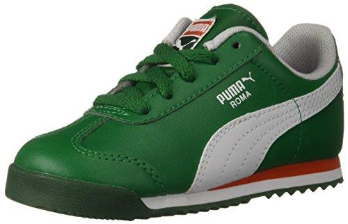 PUMA Baby Roma Basic INF Sneaker, Verdant Green White, 9 M US Toddler - Leather Green Stripe Sneakers