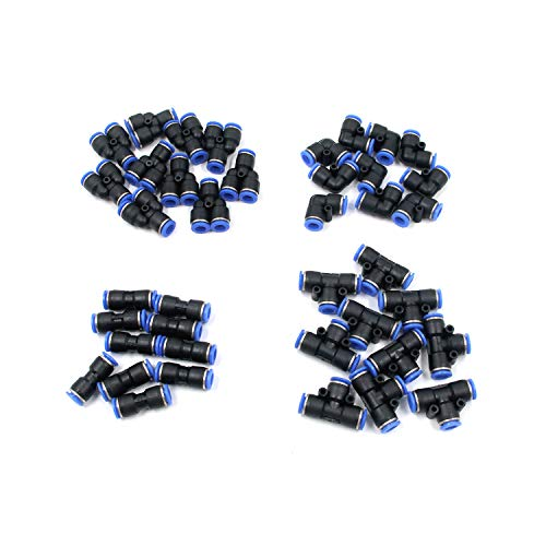 Antrader 40-Pack 5/16 Inch Od Push to Connect Fittings Pneumatic Fittings Combo Kit 10 Spliters+10 Elbows+10 Tee+10 Straight