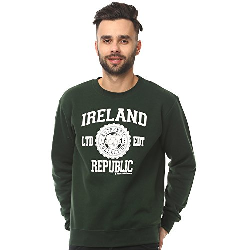 a98180227 Irish Connexxion Pullover Sweater with Ireland Republic Print, Forest Green  Colour