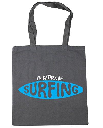HippoWarehouse I 'd Rather BE SURFING Tote Compras Bolsa de playa 42cm x38cm, 10litros gris grafito