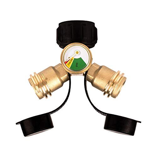 Life Indicators - Camplux Propane Y-Splitter Tee Adapter Connector with Propane Tank Gauge Propane Tank Gauge Level Indicator Leak Detector Gas Pressure Meter, 100% Solid Brass with 1 Female QCC and 2 Male QCC