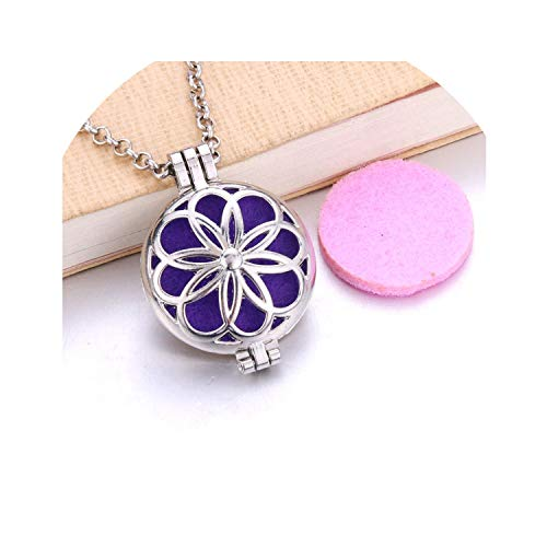 - Silver Creative Axle Essential Oil Diffuser Necklace Perfume Diffuser Aromatherapy Locket Pendant Necklace Fashion Jewelry,J