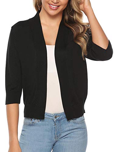 iClosam Women Open Front Cardigan 3/4 Sleeve Long Sleeve Cropped Bolero Shrug (Black_3, Small)