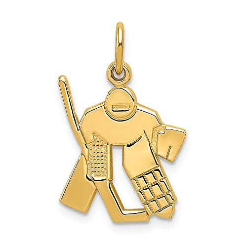 14k Yellow Gold Hockey Goalie - Charm Gold Hockey Goalie