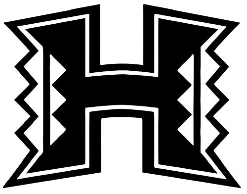 SellingDecals ncaa0143 Hawaii Rainbow Warriors H Logo Die Cut Vinyl Graphic Decal Sticker NCAA Color Choice 8