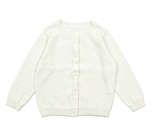 GSVIBK Girls Cardigan Long Sleeve Crewneck Cardigans Solid Knit Button Sweater Cardigan Baby Girl 18-24M White 6112
