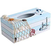 SUNONE11 Mediterranean Style Ship Anchor Wooden Tissue Box Fishing nets Shell Starfish Snail Rectangular Paper Towel Box Napkin Organizer Holder Home Decoration