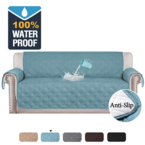 H.VERSAILTEX 100% Waterproof Slip Resistant Sofa Slipcover Pet Sofa Protector Couch Cover for Leather/Cloth Sofa, Seat Width Up to 78 Inch Furniture Protector (Oversized Sofa: Smoke Blue)