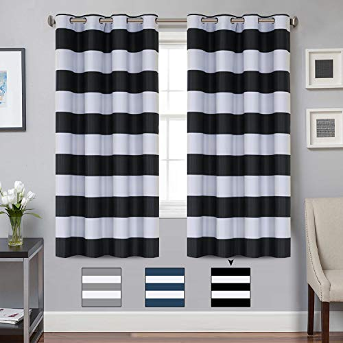 Turquoize Blackout Striped Curtains Panels for Bedroom Noise Reducing Thermal Insulated Solid Ring Top Blackout Window Drapes (Two Panels, 52 x 63 Inch, Black and Greyish White Striped)