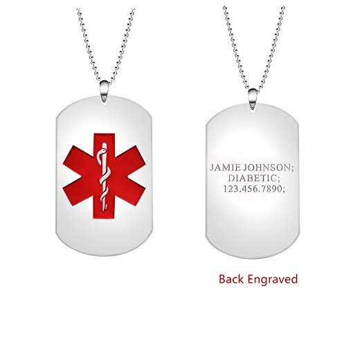 MissNity Sterling Silver Personalized Medical Alert ID Necklace for Men Women Dog Tag Emergency Pendant Free Engraved (Silver)