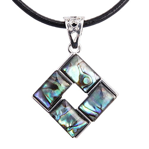 Panwa Jewelry Abalone Square Silver Tone Pendant Necklace for Women with Black Leather Chain ()
