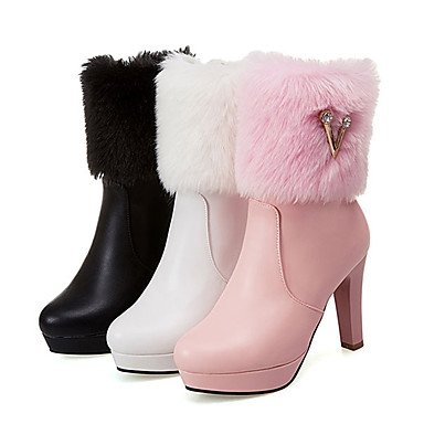 RTRY Heel EU36 Feather US6 Shoes Bootie Chunky Winter Boots Rivet UK4 Fall Pointed Women's Fashion CN36 Booties Novelty Zipper Boots PU Ankle Toe Boots Comfort rpB7rfnx