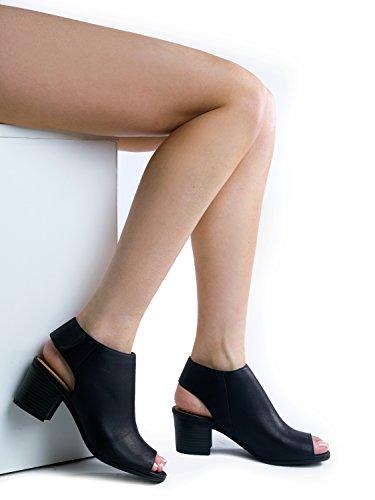J. Adams Peep Toe Bootie - Low Stacked Heel - Open Toe Ankle Boot Cutout Velcro Enclosure Black Pu 3o7WIayd