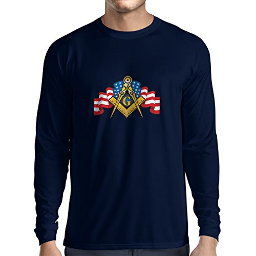 Long Sleeve t Shirt Men USA Flag G gnosisl Square and Compass Logo Freemason Accessories (Large Blue Multi Color) -