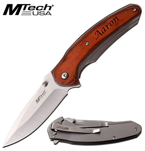 Elk Ridge Free Engraving - MTech USA Stainless Steel Knife Wodden Handle Folding Knife (MT-968SW) by MTECH USA (Image #2)
