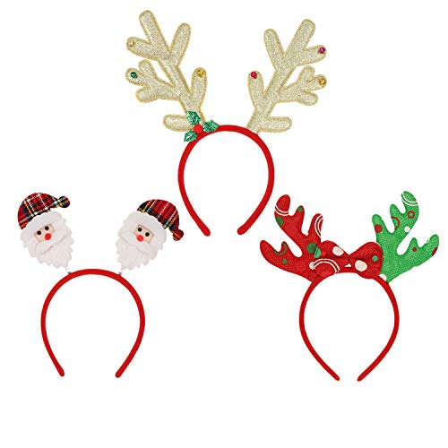 meetoo 3Pack Christmas Headbands with Different Designs Hair Hoop Xmas Hair Accessory Christmas Holiday Party Supplies Gifts for Kids Adults