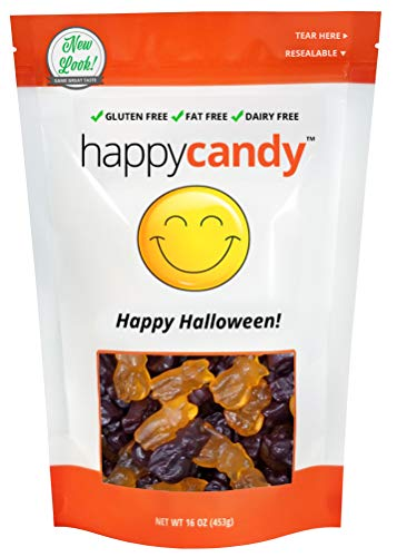 Happy Candy Halloween Gummi Cats - Gluten Free, Fat Free, Dairy Free - Resealable Pouch (1 Pound) -