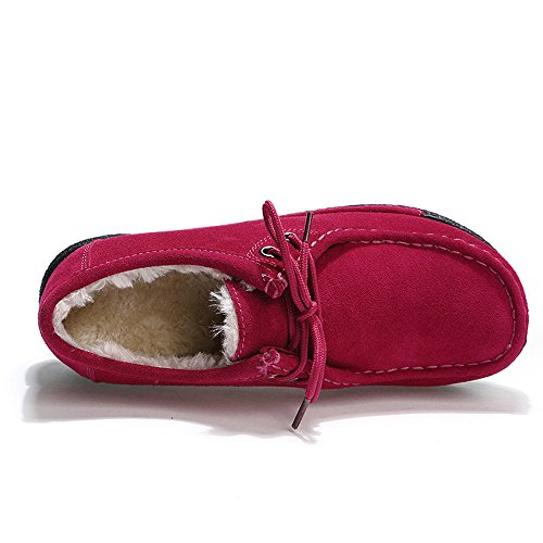 Faux Loafers Platform Lined Lined Shoes Fur Rose Suede Up EnllerviiD Winter Fur Wedges 1318 Women Moccasins Lace Faux TwPzx5Zq