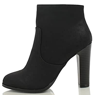 Delicious Women's Admit Almond Toe Chunky Wooden Heel Ankle Bootie, Black Faux Nubuck Leather, 5.5 M US