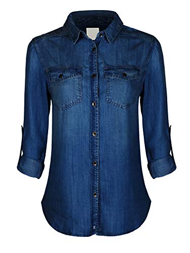 Design by Olivia Women's Classic Vintage Long/Roll Up Sleeve Button Down Denim Chambray Shirt (S-3XL)