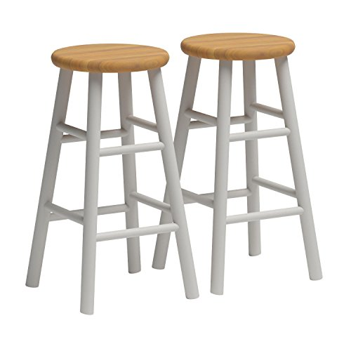 Winsome Wood S/2 Beveled Seat 24-Inch Counter Stools, Nat/Wht by Winsome (Image #2)