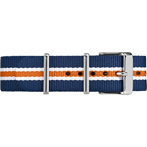 Timex TW7C07200 20mm Blue/White/Orange Stripe Double-Layered Nylon Strap (Timex Weekender Slip Thru Band)
